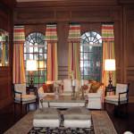 Stately wood paneled living room